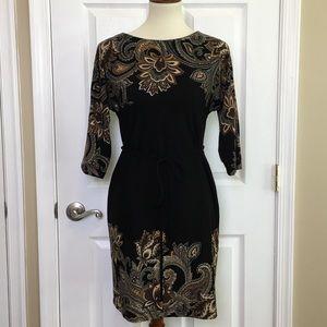 Sandra Darren Black Knit Paisley Long Sleeve Dress